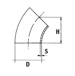 curva acciaio 45° senza saldatura